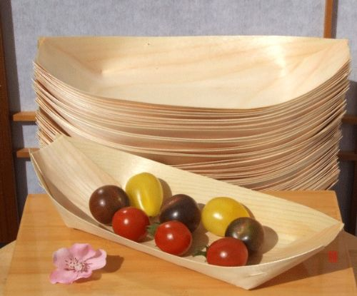 Bamboo Wood Boats Large x100 for party foods, snacks, nibbles, canapé 225X125mm